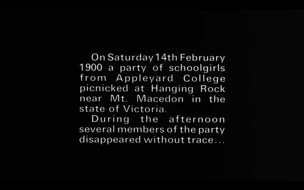 SOFT RIOT Film Klub | Picnic At Hanging Rock (Peter Weir, 1975) - Title Card